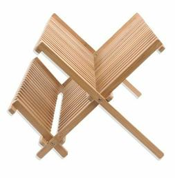 Egouttoir à Vaisselle en Bambou Pliable  Bois 34 Assiettes