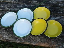 Mini assiettes émaillées lot de 5 jaune blanc dinette éma