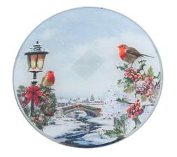 Neuf Hiver Robin Noël Scène Verre Plaque Bougie Ou Table C
