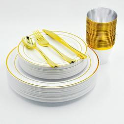 Set 150 Pièces Vaisselle Ménagère Plastique 25 Invités A